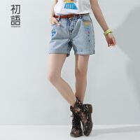 初语夏季新品  趣味路标印花宽松牛仔裤女8521835027