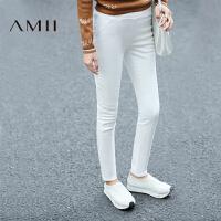 【AMII超级大牌日】[极简主义]2016冬女新纯色加绒修身小脚大码休闲长裤11642933
