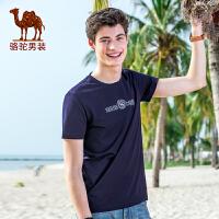 骆驼男装 2017夏季新品时尚男款印花青年圆领日常休闲短袖T恤衫男