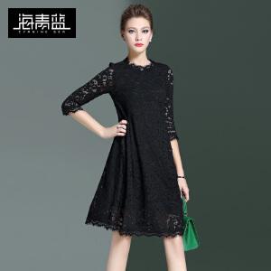海青蓝2017春季新款纯色时尚蕾丝七分袖A字裙气质名媛连衣裙6705