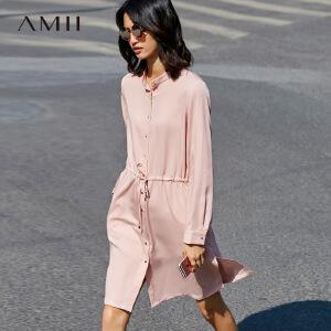 Amii[极简主义]2017春宽松小立领腰间抽绳系扣长袖连衣裙11771001