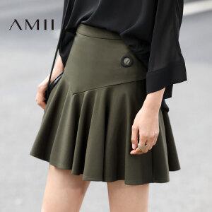 Amii[极简主义]2017春新款几何分割波浪摆百褶裙伞裙半身裙女短裙