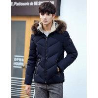 冬季男士连帽羽绒服韩版休闲毛领时尚短款羽绒衣