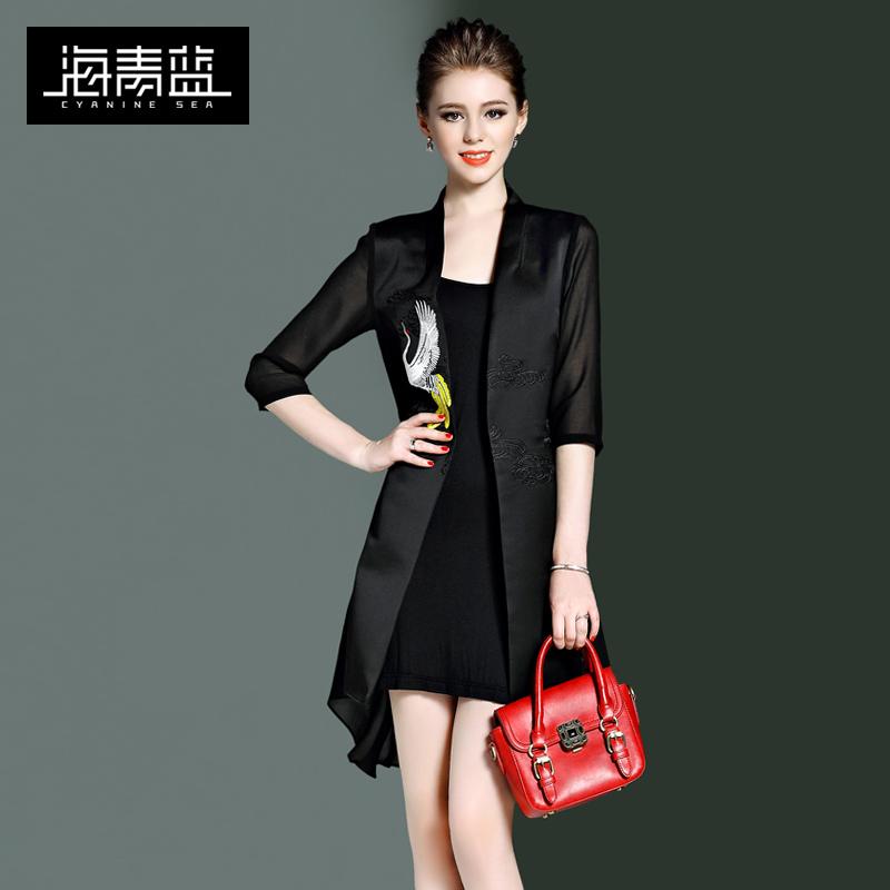 海青蓝2017春季新款时尚绣花潮流网纱拼接七分袖个性中长外套8616