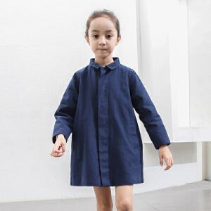 amii童装2017春新款女童翻领休闲外套中大童儿童立体小象外套