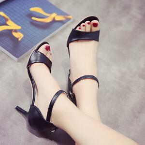 2017夏季新款韩版高跟鞋细跟露趾中空一字扣凉鞋女夏天白色鞋子职业女鞋ZR185-1