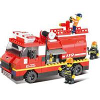 小鲁班 拼插积木 急速火警系列 水罐消防车 模型玩具
