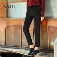【AMII超级大牌日】[极简主义]2016秋冬新款修身纯色大码休闲九分裤女装11643826