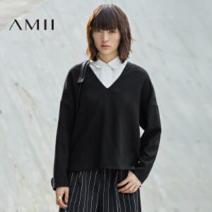 【AMII超级大牌日】[极简主义]2017年春女新品纯色羊毛呢V领宽松大码卫衣11683875