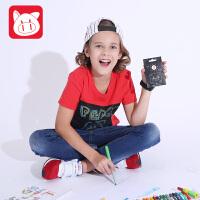 小猪班纳童装夏新款男童女童绘画涂鸦红色新品短袖T恤