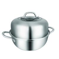 蒸锅304不锈钢28cm单层厚小1层复底火锅家用大汤锅具