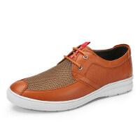 骆驼牌 春夏季新品男士休闲皮鞋 透气网布鞋低帮系带鞋英伦风