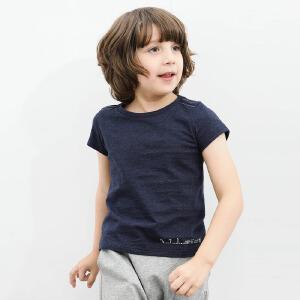 amii童装2017春装新款男童短袖T恤中大童纯色上衣儿童绣花打底衫