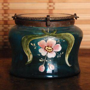 清末 老琉璃加彩盖罐