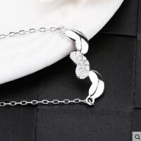 日韩版简约心形 925银项链 女吊坠白金锁骨链生日圣诞礼物