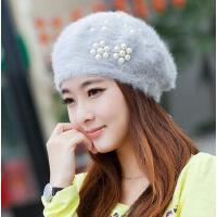 韩版贝雷帽秋冬季帽子长绒毛绒绒的潮可爱毛线帽兔毛针织女士冬天