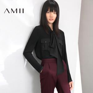 【AMII超级大牌日】[极简主义]2017年春新款装纯色常规款雪纺长袖衬衫11683295