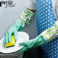 门扉 洗碗手套 洗碗手套加厚加绒橡胶手套洗衣服胶皮刷碗乳胶厨房清洁家务防水耐用手套 厨房用品