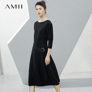 Amii[极简主义]2017春新直筒一字领蝙蝠袖腰带羊毛连衣裙11741503