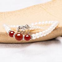 芭法娜 香蕊 红玛瑙配天然淡水珍珠桶珠随行项链