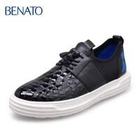 benato宾度男鞋休闲系带压花板鞋牛皮时尚男皮鞋