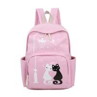 帆布印花双肩包新款韩版潮小猫咪女包学生书包旅行包