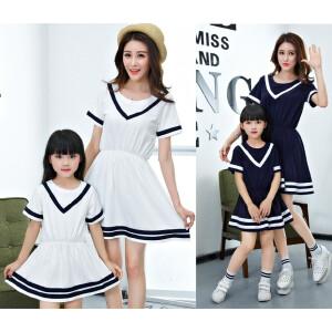 【当当年中庆】波柏龙 六一儿童节新款学院风韩版中长款亲子母女装纯棉短袖连衣裙