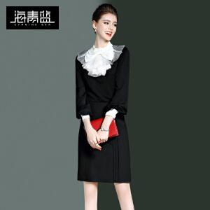 海青蓝2017春季新款纯色OL通勤气质九分袖蝴蝶结雪纺衫衬衫女8566