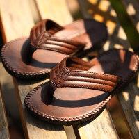 男士人字拖鞋夏季皮凉拖夹脚防滑平跟凉鞋沙滩鞋欧美男鞋