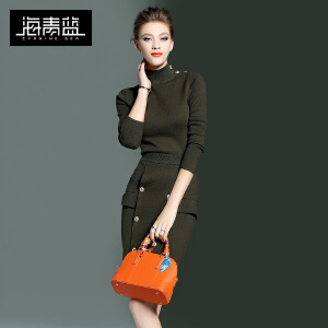 海青蓝2016秋装新款针织毛衣T恤两件套气质修身半身裙套装女6787