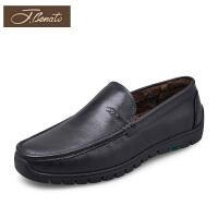 宾度男鞋冬季商务休闲鞋加绒保暖鞋男士鞋子男套脚爸爸鞋