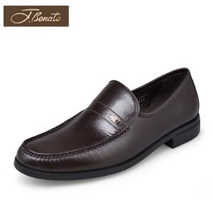 宾度男鞋真皮中年男士袋鼠皮正装皮鞋英伦复古皮鞋春季套脚爸爸鞋