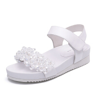 milkroses 夸张钻饰一字带牛皮凉鞋