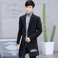 秋冬新款男士风衣中长款韩版呢子大衣男装修身毛呢子潮青年外套男
