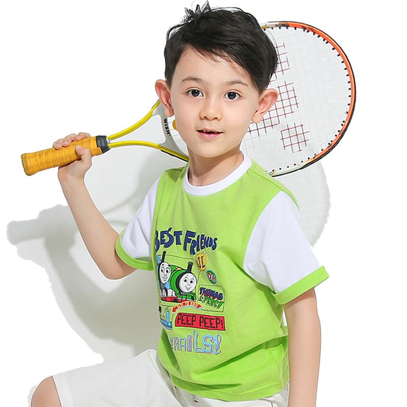 托马斯童装正版授权男童简约趣味发泡短袖纯棉全棉T恤夏季新品上衣