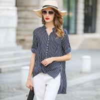 17夏季新款 桑蚕丝女装真丝衬衫 纯色立领蝙蝠衫