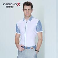 劲霸男装 丝光棉短袖衬衫 舒适纯棉百搭短袖衬衫 针织衬衫
