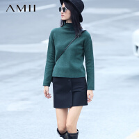 【AMII超级大牌日】[极简主义]2016冬新时尚半高领休闲落肩袖斜纹毛衣女11671982