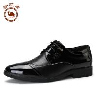 骆驼牌头层亮皮商务牛皮男士皮鞋 新款系带时尚商务正装鞋