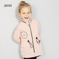 amii童装秋新款女童印花抽绳收腰风衣大中童中长款帅气外套+
