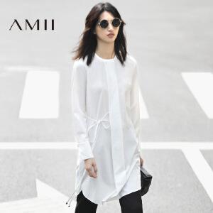 Amii[极简主义]2017春女新品纯色圆领长袖绑带褶皱连衣裙11770036