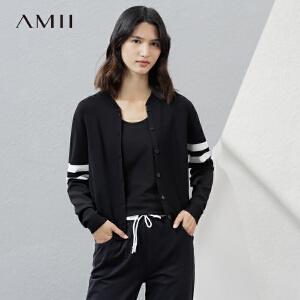 Amii[极简主义]2017春女轻运动条纹立领棒球外套针织开衫11771378