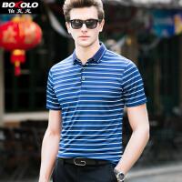 短袖POLO衫男士 短袖T恤 夏季新款翻领保罗衫休闲条纹修身青年男装 伯克龙Z87608