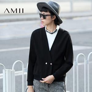 【AMII超级大牌日】[极简主义]2017年春新款女深V领落肩袖宽松休闲短外套11643302