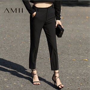 Amii2017春简洁百搭通勤显高显瘦休闲九分裤女11720469