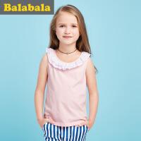 巴拉巴拉儿童背心短袖上衣2017夏季新款中大童童装背心女休闲