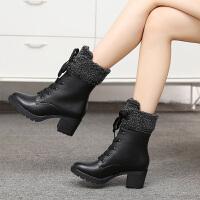 娜箐箐冬新款马丁靴英伦风真皮系带保暖高跟中筒靴女靴