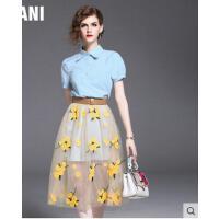 时尚小清新两件套花色短袖套装裙中长款网纱刺绣连衣裙  可礼品卡支付