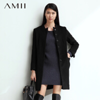 【AMII超级大牌日】[极简主义]女装休闲双层门襟大码羊毛呢大衣外套长款女11480576