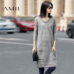 【AMII超级大牌日】[极简主义]2017年春女装纯色V领大码长袖针织毛衣中长款连衣裙